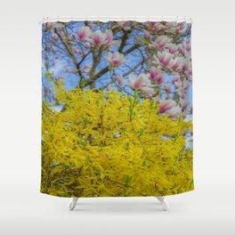 Magnolia and Forsythia Shower Curtain