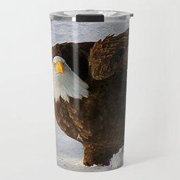 Mature bald eagle almost landed Travel Mug