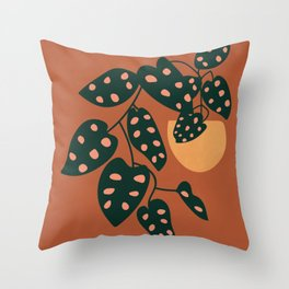 Monstera Adansonii Plant Illustration, Potted House Plant, Boho Art Print, Botanical Wall Art Throw Pillow