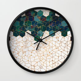 Teal and Cream Organic Hexagons Wall Clock