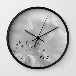 Elegance - Fine Art Black and White Nature Photography, Flower Wall Clock