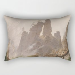 Caspar David Friedrich - Rocky Lanscape in the Elbe Sandstone Mountains Rectangular Pillow