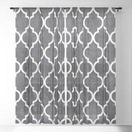 Classic Quatrefoil Lattice Pattern 421 Black and White Sheer Curtain