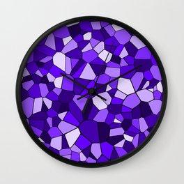 Violet Purple Blue Mosaic Pattern Wall Clock