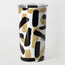 Modern abstract black gold watercolor brushstrokes Travel Mug