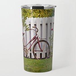 Bike with Fence & Flowers Travel Mug