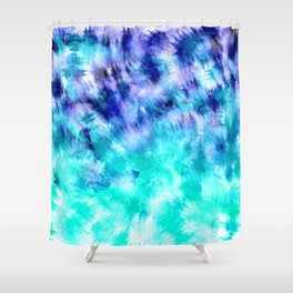 modern boho blue turquoise watercolor mermaid tie dye pattern Shower Curtain