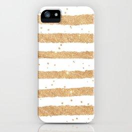 Elegant white faux gold glitter geometrical stripes iPhone Case