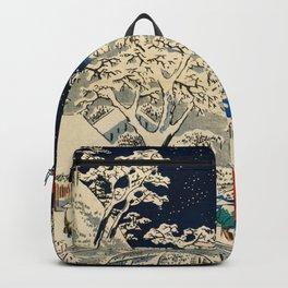 Ukiyo-e, Ando Hiroshige, Yuhi Hill and the Drum Bridge at Meguro Backpack
