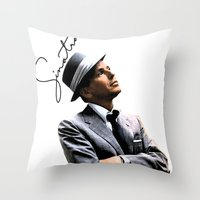 frank sinatra Throw Pillows featuring Frank Sinatra by BAS~