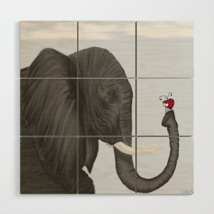Bertha The Elephant And Her Visitor Wood Wall Art
