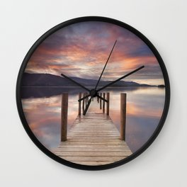 Flooded jetty in Derwent Water, Lake District, England at sunset Wall Clock