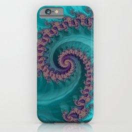 Teal Slide Fractal Art iPhone Case
