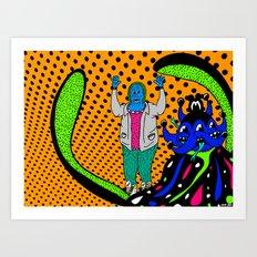 ATTACK.   (Invasion).  (On Orange). Art Print