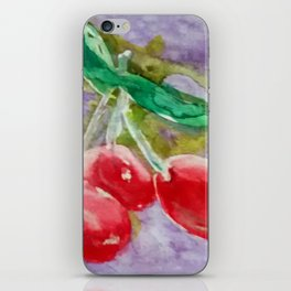 Red Cherries on Purple watercolor by CheyAnne Sexton iPhone Skin