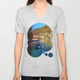Boats in the harbour | waterscape photography Unisex V-Neck