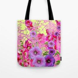 CONTEMPORARY PINK & LILAC HOLLYHOCKS ART Tote Bag