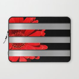 Red Daisy Black & Silver Metallic Stripes Laptop Sleeve