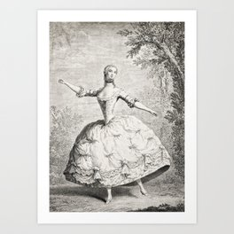 The Dancers, 18th century French ballet woman, black white drawing Art Print