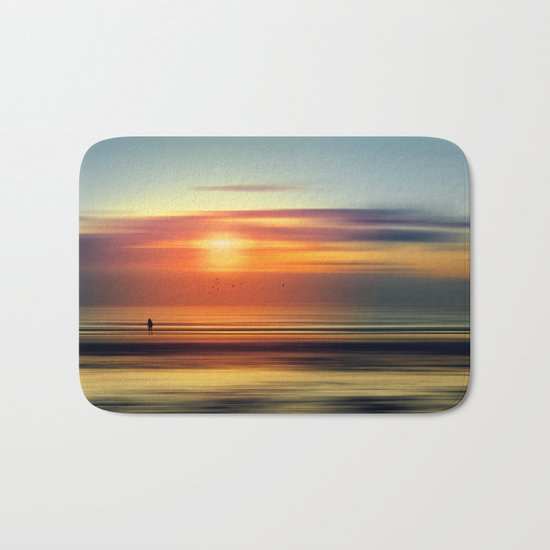 Bright Red - seascape sunset abstract Bath Mat