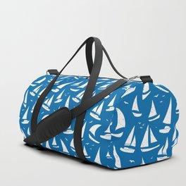 Cool Sailing Boats Pattern on Sea Blue Duffle Bag
