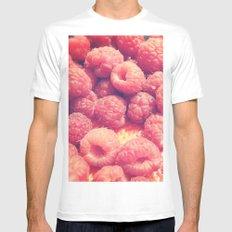 Raspberries White Mens Fitted Tee MEDIUM