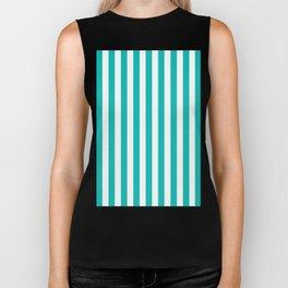 Vertical Stripes (Tiffany Blue/White) Biker Tank