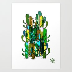 Cactus and Pom Poms Art Print