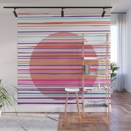 Sunset colorful stripes and sun pattern Wall Mural
