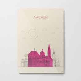 Colorful Skylines: Aachen, Germany Metal Print