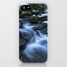 Snow, Moss, Water Over Rocks iPhone Case