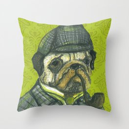 Puglock Holmes Throw Pillow