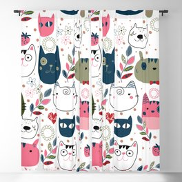 Cute Hand-drawn Cats Pattern Blackout Curtain