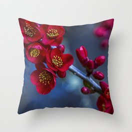 Red Flowering Quince Throw Pillow