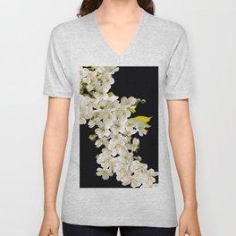 Cherry Flowers On Black Background #decor #society6 #buyart Unisex V-Neck