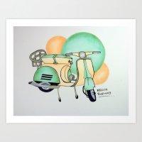 vespa Art Prints featuring Vespa  by Melissa Rodriguez