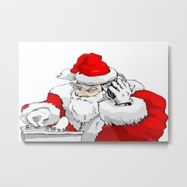 DJ Santa Claus Mixing The Christmas Party Track  Metal Print