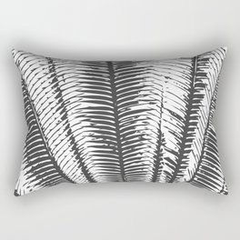 Black and White Modern Tropical Palm Fronds Rectangular Pillow