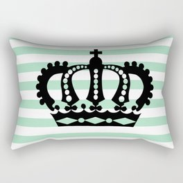 Pastel Goth - Mint Stripes and Crown 1 Rectangular Pillow