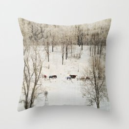 Horses in the Winter Throw Pillow