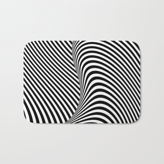 Black and White Pop Art optical illusion lines Bath Mat