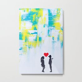 Kids in Love Abstract, Boy Girl Love Abstract, Love Abstract Art, Green Yellow Abstract Love Metal Print