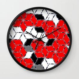 red white black grey cubes geometric 3d pattern Wall Clock