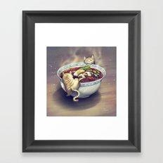 Cats and Ramen Soup Framed Art Print