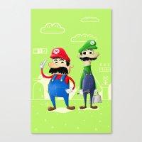 luigi Canvas Prints featuring Mario & Luigi by Jorge De la Paz
