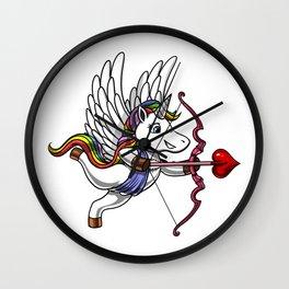 Cute Unicorn Cupid Valentines Day Wall Clock