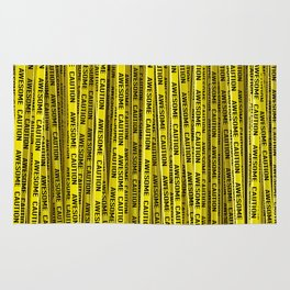 AWESOME, use caution / 3D render of awesome warning tape Rug
