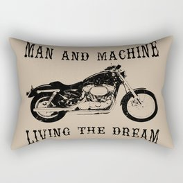 Man & Machine Living The Dream Motorcycle Rectangular Pillow
