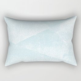 Light Blue and White Geometric Triangles Lino-Textured Print Rectangular Pillow