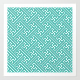 Lattice - Turquoise Art Print